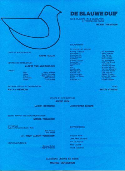 """Een bladzijde uit het programmaboekje van """"De Blauwe Duif"""""""