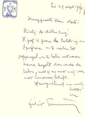 """Brief van Timmermans waarbij toelating wordt verleend om """"Symforosa"""" te bewerken en op te voeren"""